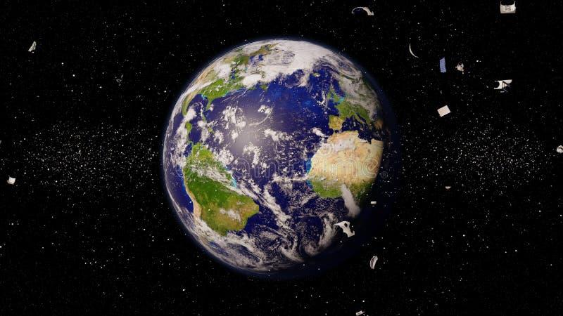 Débris d'espace dans l'orbite terrestre, déchets dangereux orbitant autour de la planète bleue illustration stock