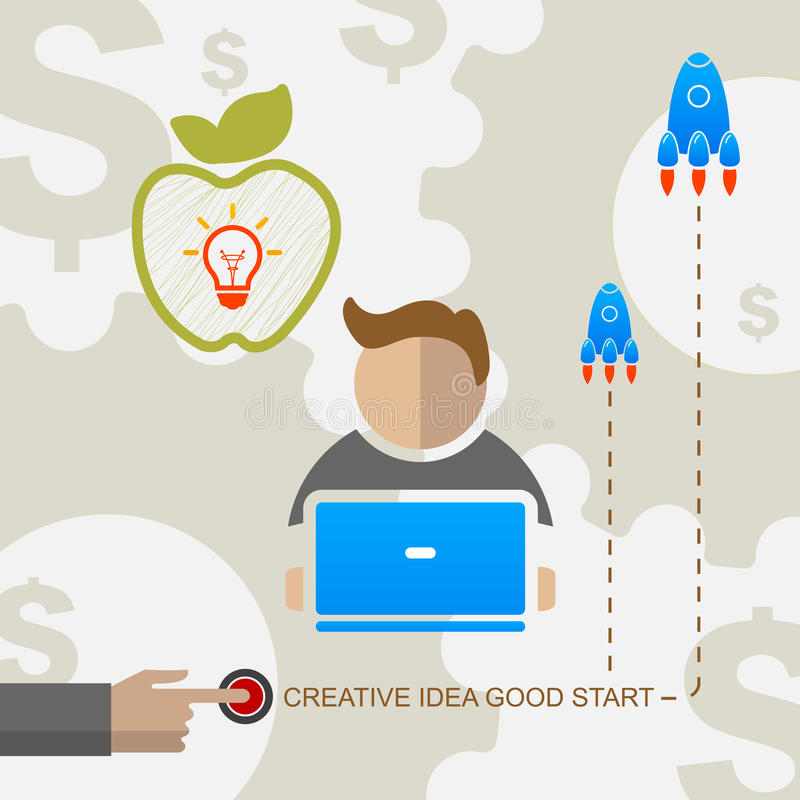 Début d'idée créative d'affaires de vecteur bon illustration stock