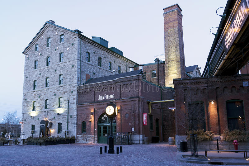 Début de la matinée dans le secteur de distillerie - Toronto, DESSUS image libre de droits