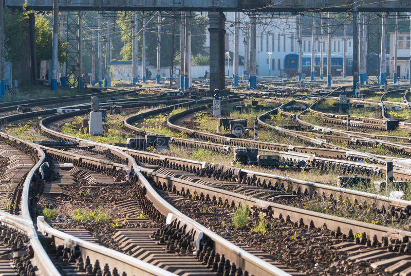 Début de la matinée de voies ferrées photos stock