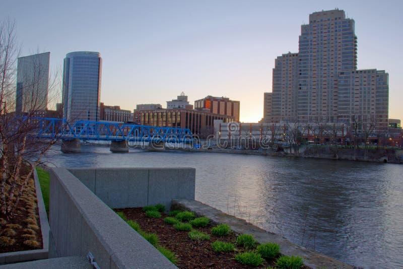 Début de la matinée Grand Rapids Michigan image libre de droits