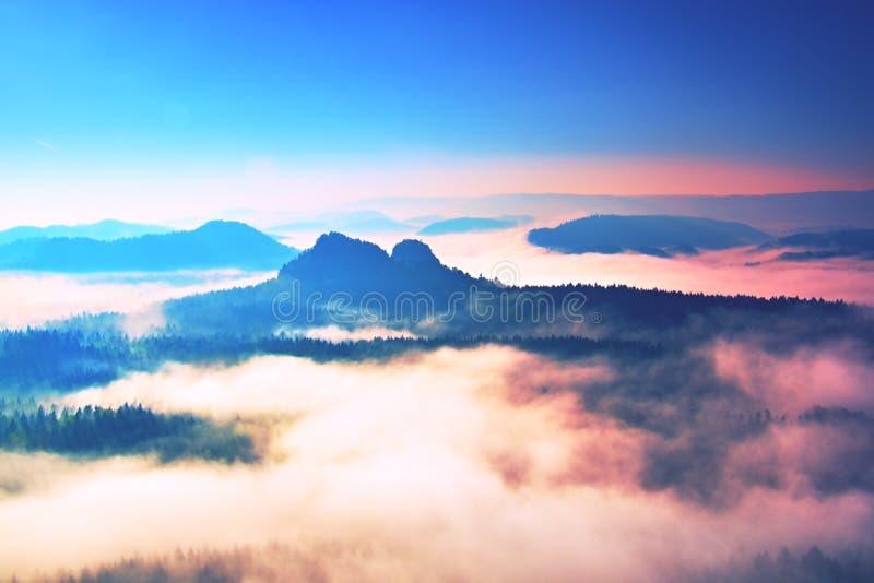Début de source Lever de soleil rêveur fantastique au-dessus de la vallée profonde cachée dans les montagnes rocheuses Jour brume images libres de droits