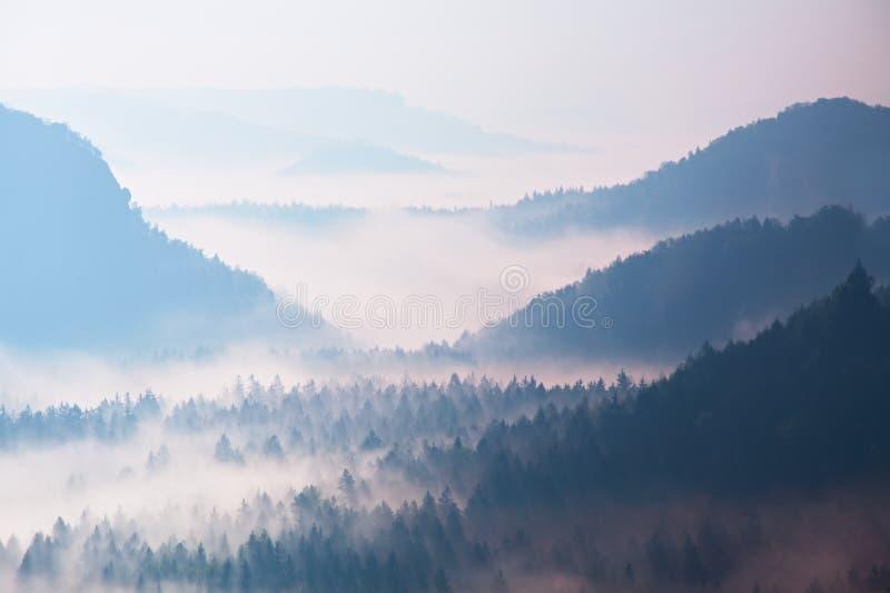Début de source Lever de soleil rêveur fantastique au-dessus de la vallée profonde cachée dans les montagnes rocheuses Jour brume image stock
