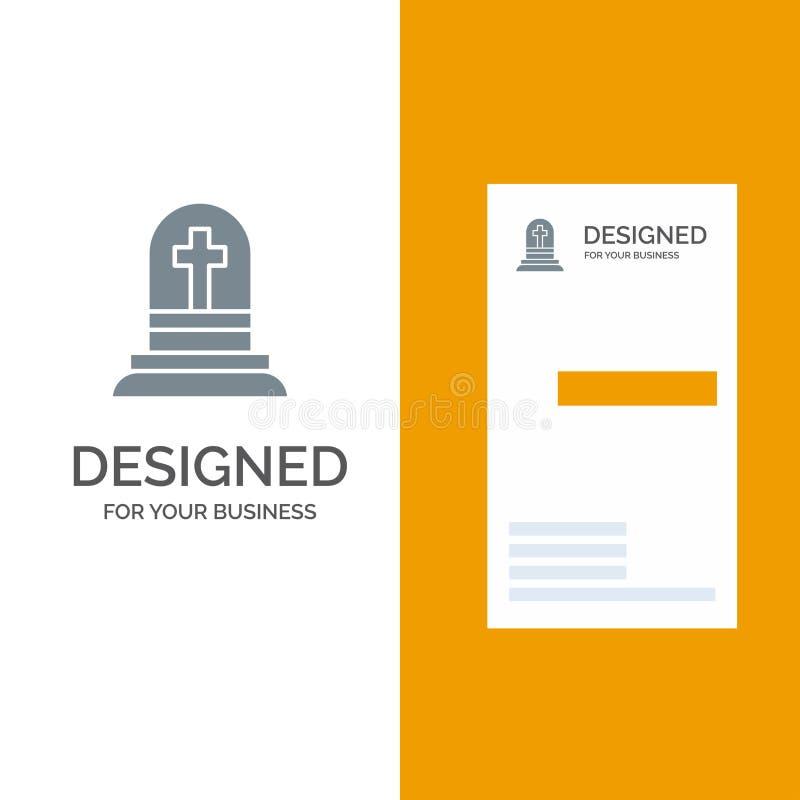 Décès, gravure, gravure, gravure, conception de logos gris et modèle de carte de visite illustration libre de droits