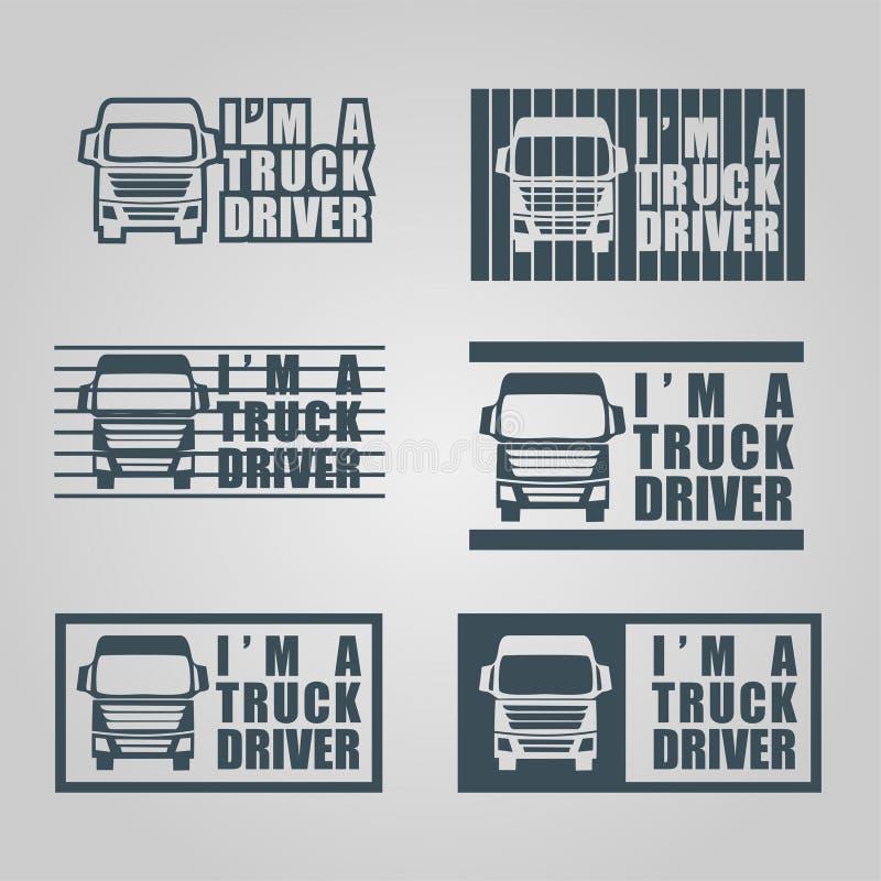 Décalque de chauffeur de camion d'aspiration de main illustration de vecteur