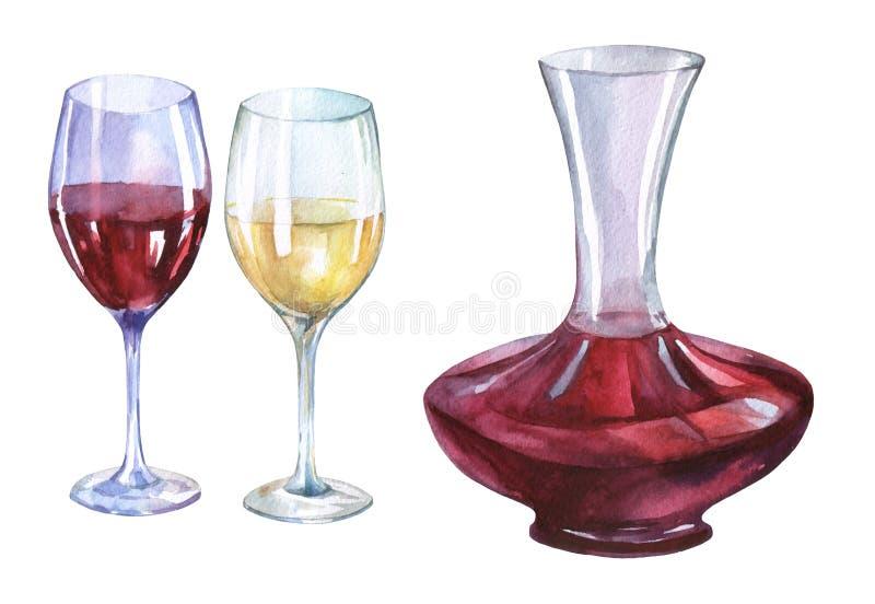Décanteur, verres de vin rouge et blanc illustration libre de droits