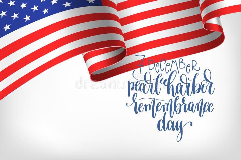 7 décembre affiche de calligraphie de jour de souvenir de Pearl Harbor illustration de vecteur