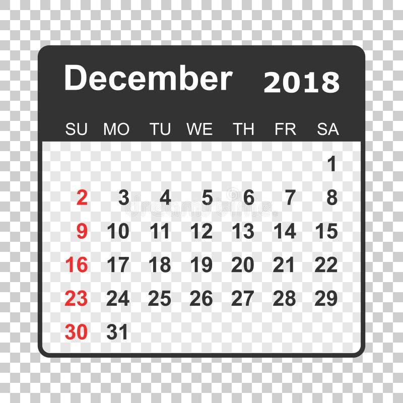 Décembre 2018 calendrier Calibre de conception de planificateur de calendrier Semaine s illustration libre de droits