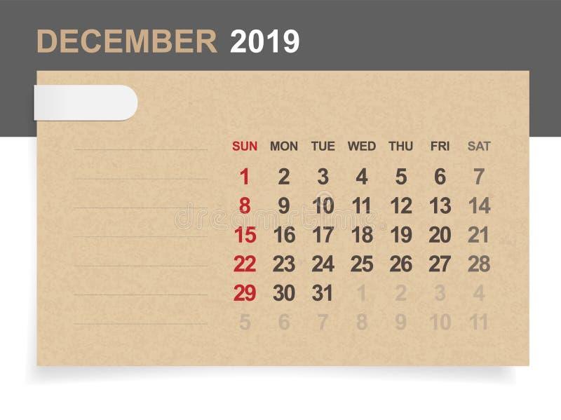 Décembre 2019 - calendrier mensuel sur le fond de papier brun et en bois avec le secteur pour la note illustration stock