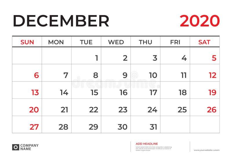 DÉCEMBRE 2020 calibre de calendrier, taille 9 de disposition de calendrier de bureau 5 x 6 5 pouces, conception de planificateur, illustration de vecteur