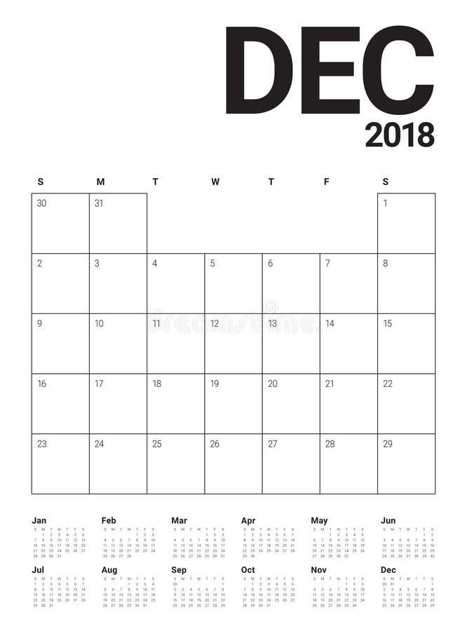 Décembre 2018 illustration de vecteur de calendrier de planificateur illustration libre de droits