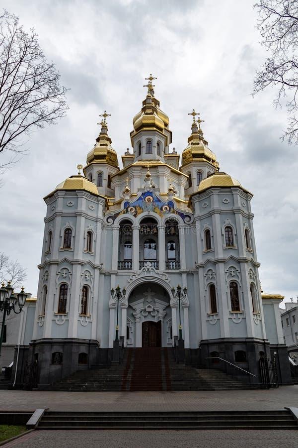 Décembre 2017, Kharkiv, Ukraine : Église de Mironositskaya, connue également comme temple de Myrrhe-porteurs photos libres de droits