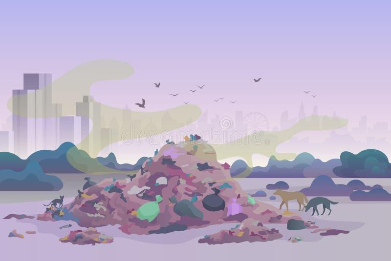 Décharge de portée puante puante de décharge de rebut avec des chats et des chiens et horizon de ville sur l'illustration de vect illustration de vecteur