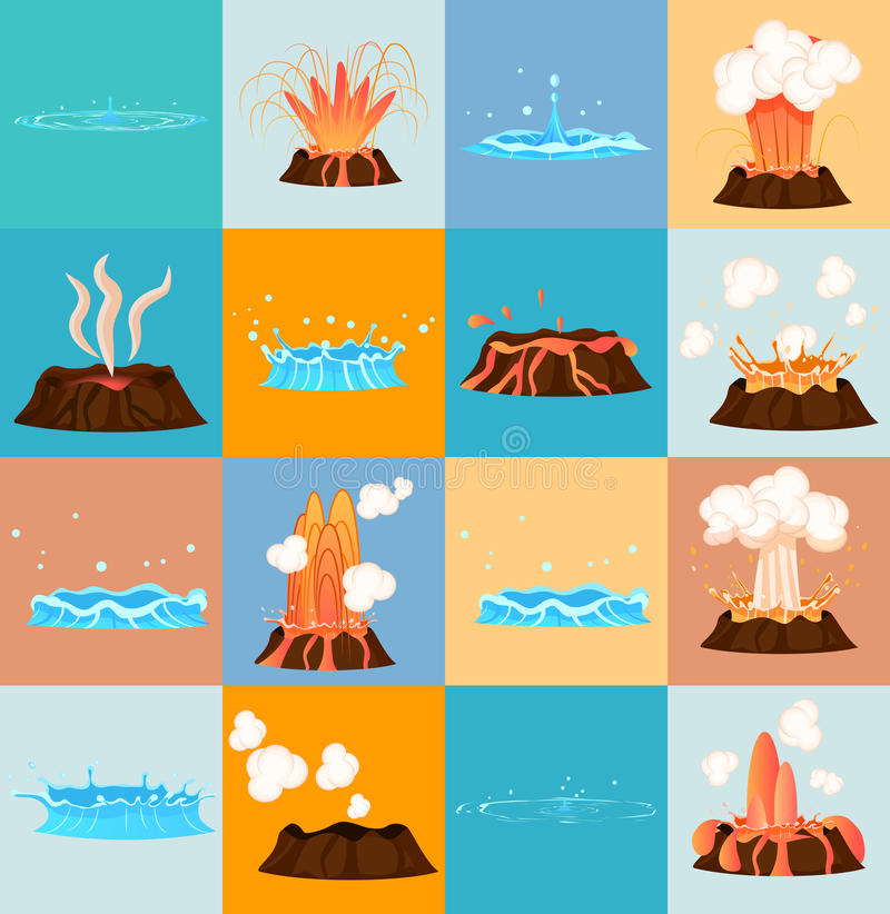 Décharge de Volcano Eruption et de l'eau par le geyser illustration stock