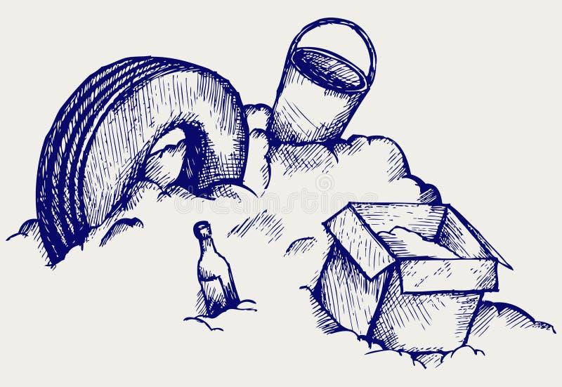 Décharge. Montagne des déchets illustration libre de droits
