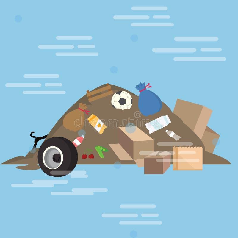 Décharge sale d'illustration de bande dessinée de vecteur de déchets de pile de déchets illustration de vecteur