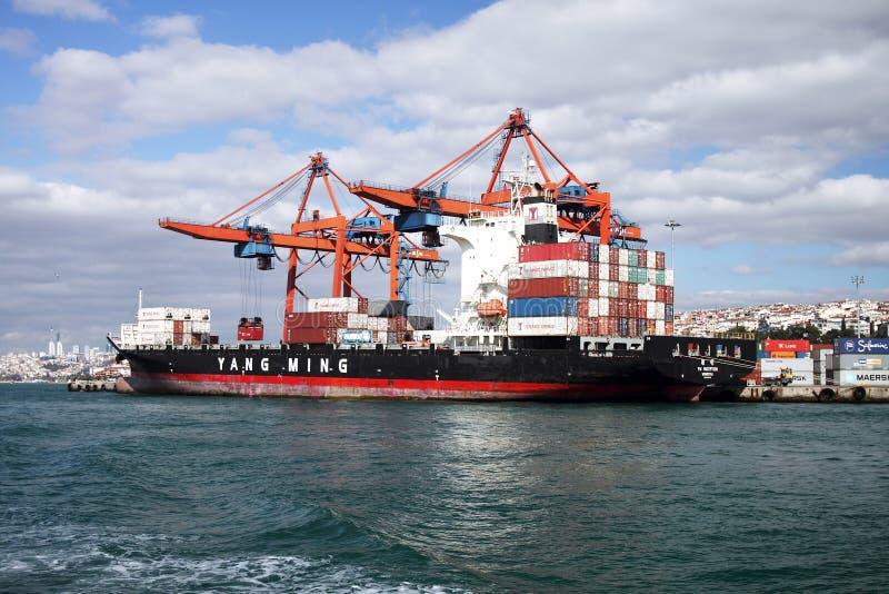 Déchargement de navire porte-conteneurs image libre de droits