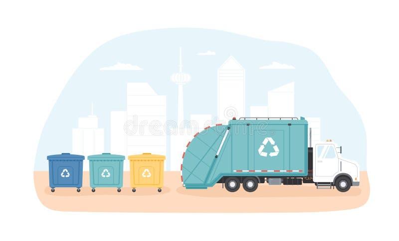 Décharges municipaux et véhicule ou camion à ordures de collecte des déchets rassemblant des déchets contre le paysage urbain mod illustration libre de droits