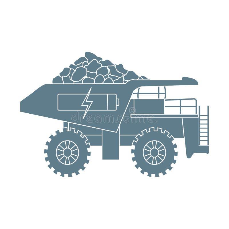 Déchargeur électrique avec du minerai, batterie, symbole de charge illustration stock
