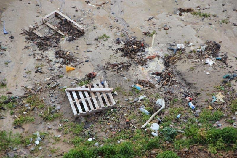 Déchets échoués sur la plage après tempête dans la perspective image stock