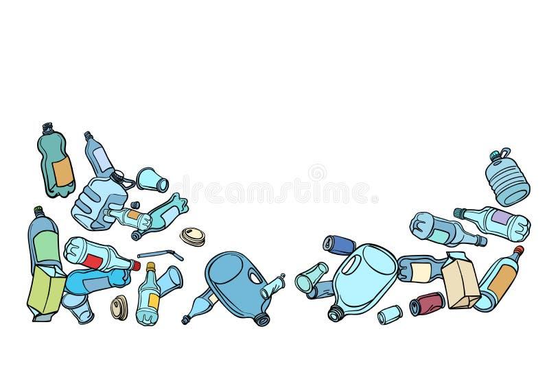 Déchets, écologie et réutilisation en plastique illustration de vecteur