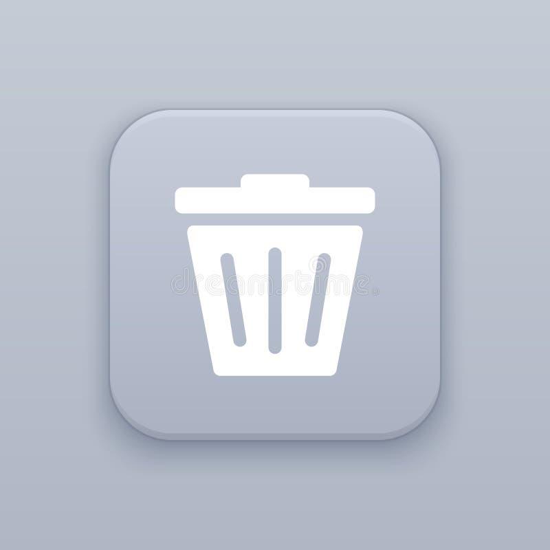 Déchets, bouton gris de vecteur avec l'icône blanche illustration libre de droits