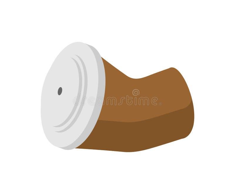 Déchets chiffonnés de tasse de café d'isolement Déchets sur le backgroun blanc illustration libre de droits