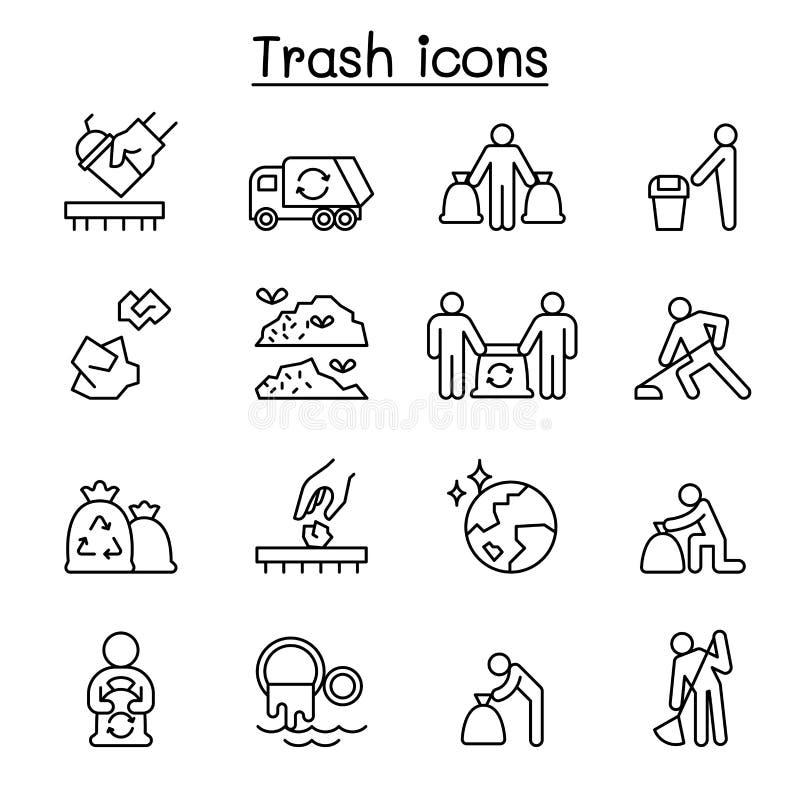 Déchets, déchets, déchets, décharge, ensemble d'icône d'ordures dans la ligne style mince illustration stock
