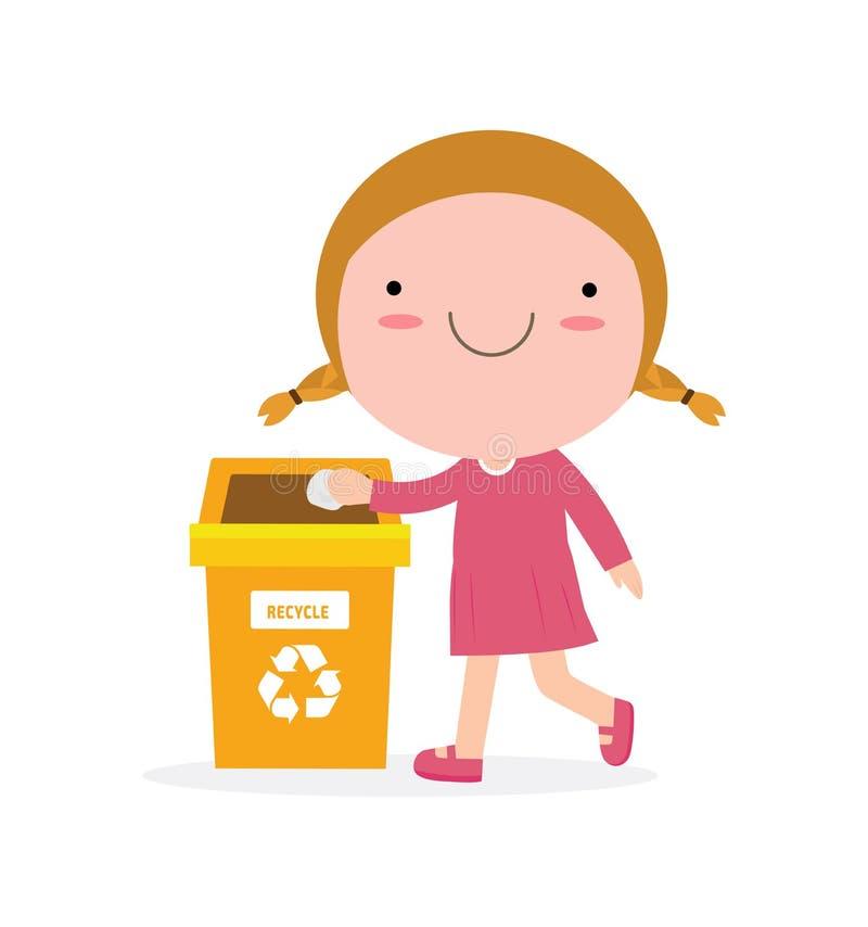 Déchets d'enfants pour réutiliser, illustration des enfants isolant des déchets, réutilisant des déchets, sauf le monde, réutilis illustration stock