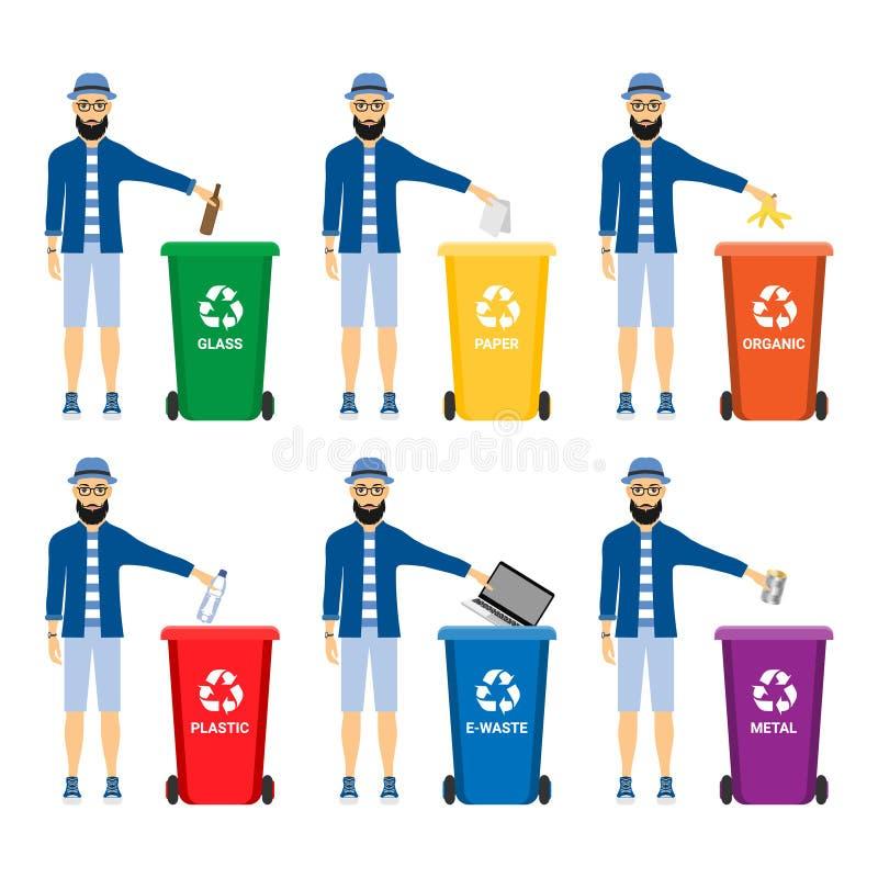 Déchets dans des poubelles avec les icônes assorties de vecteur de déchets Réutilisant la collection de séparation de déchets et  illustration de vecteur