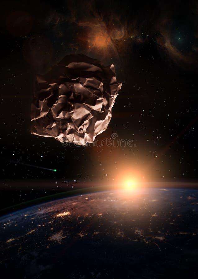 Déchets dans le concept de l'espace Météorite de papier emiettée de boule au-dessus de illustration libre de droits