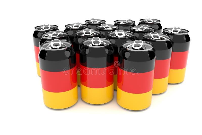 Déchets de empaquetage en Allemagne : Boîtes en aluminium de drapeau allemand d'isolement sur une illustration blanche du fond 3d illustration libre de droits