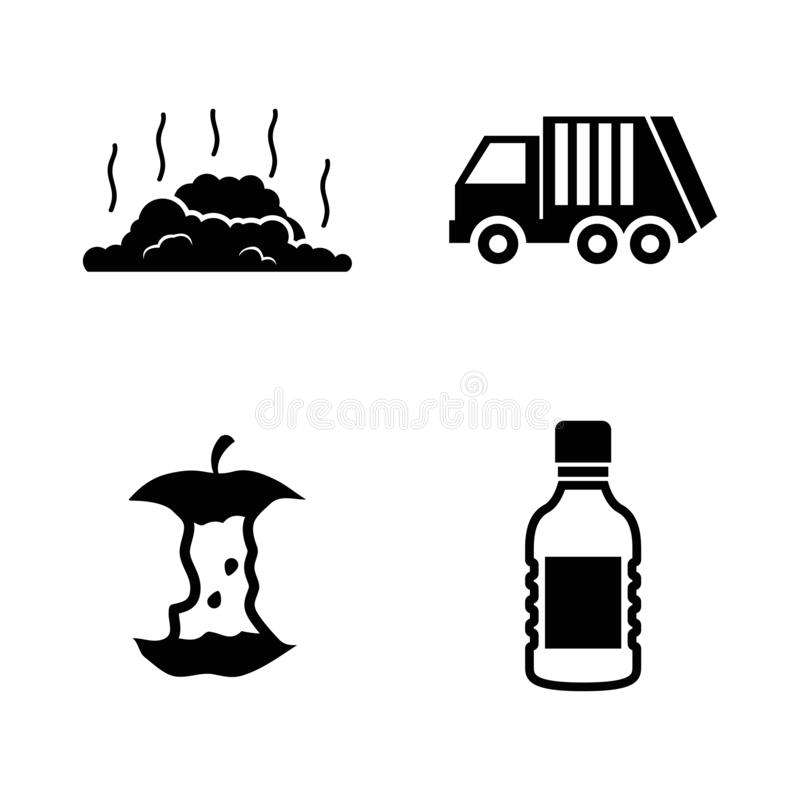 Déchets de déchets Icônes relatives simples de vecteur illustration de vecteur