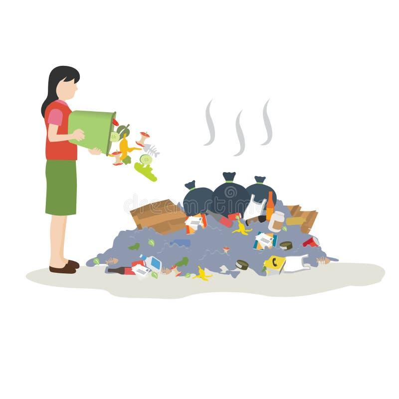 Déchets de jet de femme dans la pile des déchets illustration libre de droits