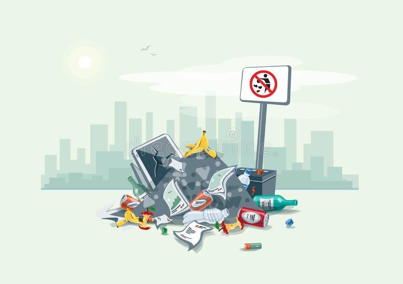 Déchets de la pile de déchets de déchets sur la route de rue illustration de vecteur