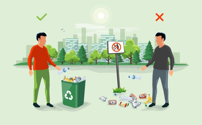 Déchets de portée corrects et faux autour de la poubelle avec du pe illustration stock