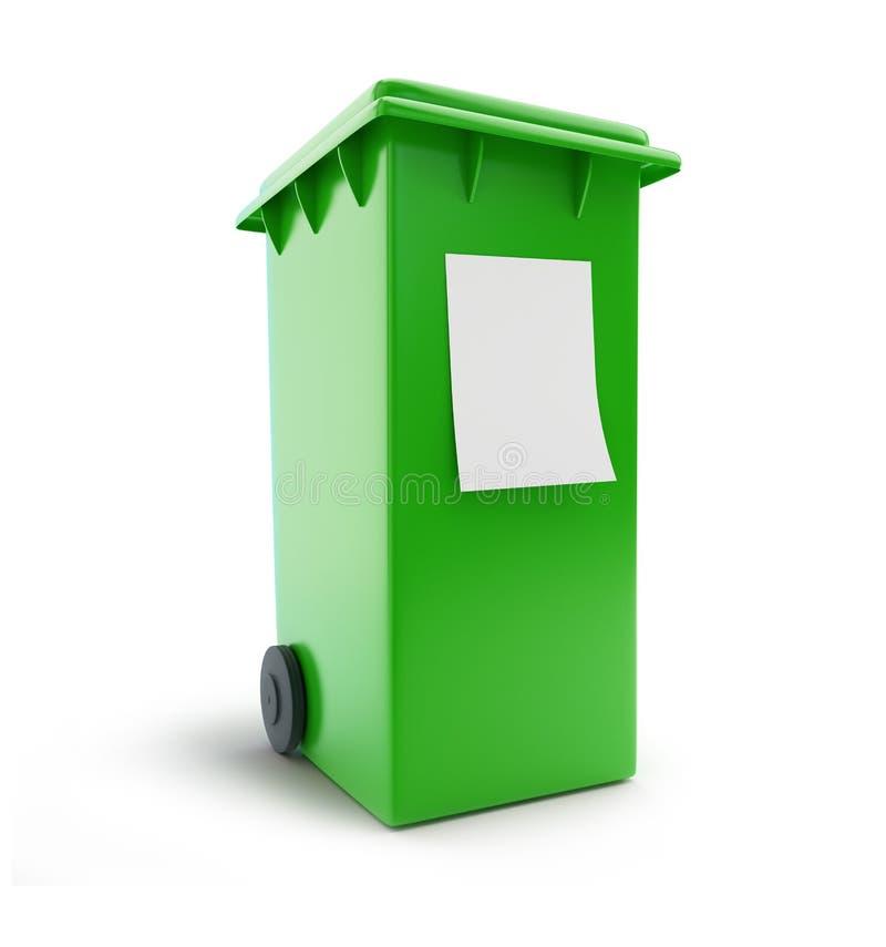 Déchets de poubelle assortissant la poubelle quatre à roues verte illustration libre de droits