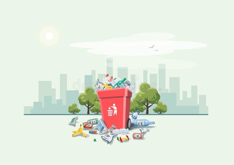 Déchets des déchets autour de la poubelle sur la rue illustration stock