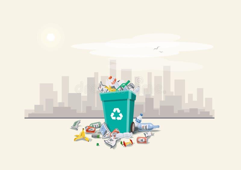 Déchets des déchets autour de la poubelle sur la rue illustration de vecteur