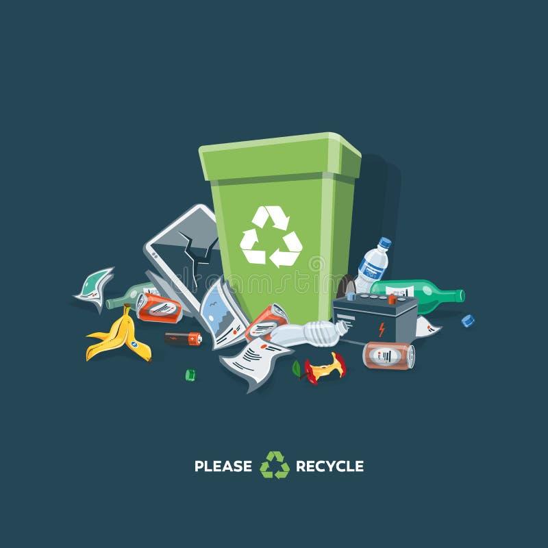 Déchets des déchets autour de la poubelle sur le fond foncé illustration de vecteur