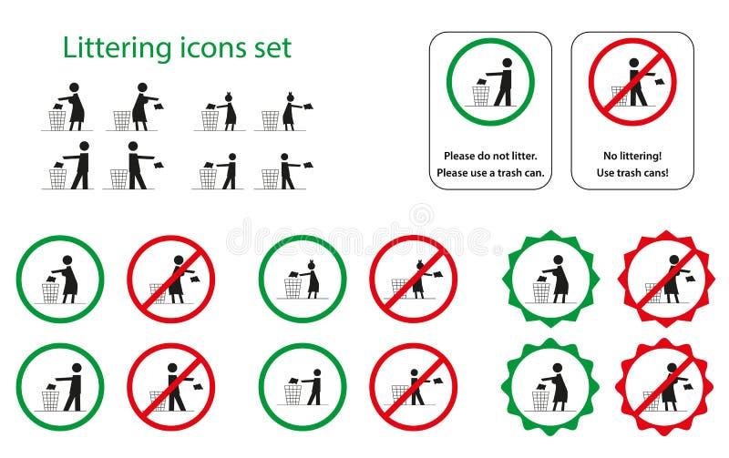 Déchets des icônes illustration de vecteur