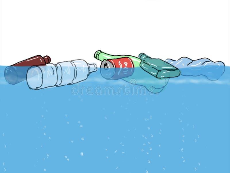 Déchets en plastique flottant dans le dessin d'océan illustration stock