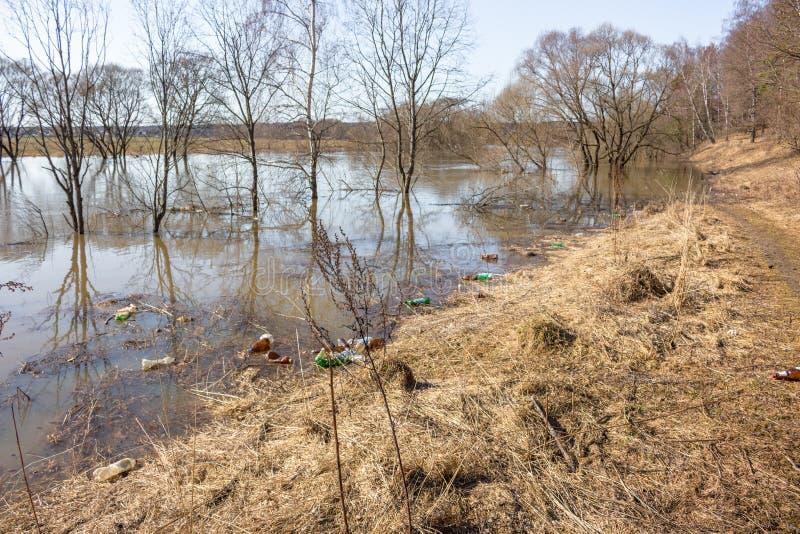 Déchets en plastique sur la berge flottant pendant l'inondation de ressort photos libres de droits