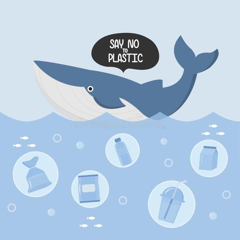 Déchets et baleine en plastique dans l'océan illustration stock