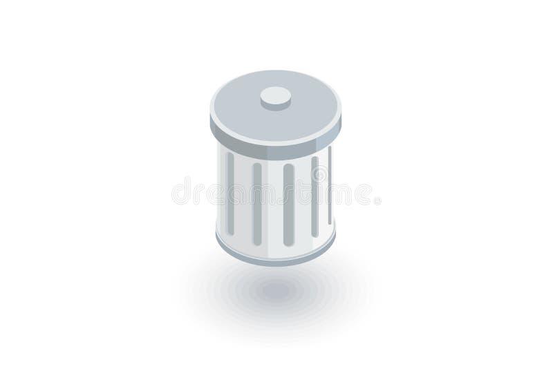 Déchets, icône plate isométrique de déchets vecteur 3d illustration de vecteur