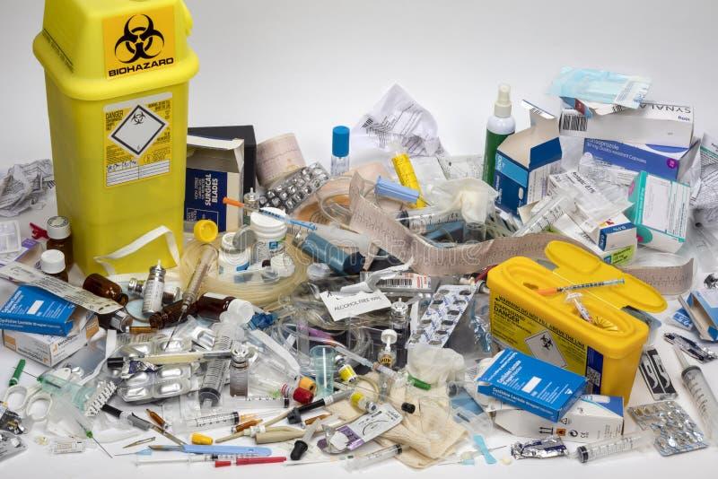 Déchets médicaux pour la disposition - risque d'infection image stock