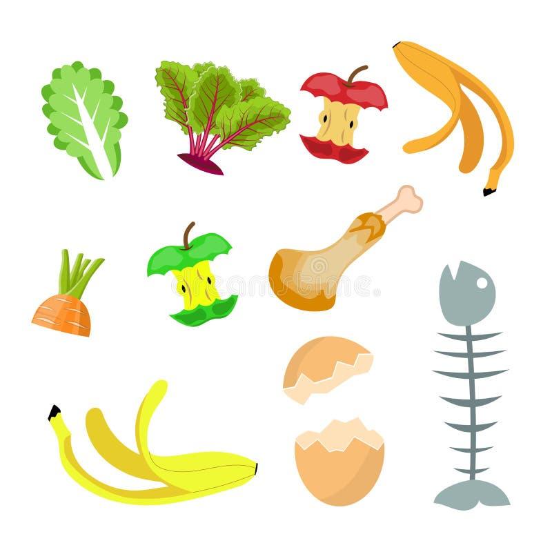 Déchets organiques, collection de compost de nourriture illustration libre de droits