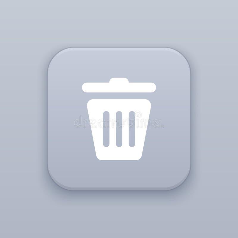 Déchets, panier, bouton gris de vecteur avec l'icône blanche illustration stock