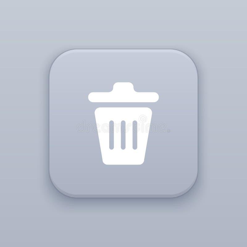 Déchets, panier, bouton gris de vecteur avec l'icône blanche sur le fond gris illustration libre de droits