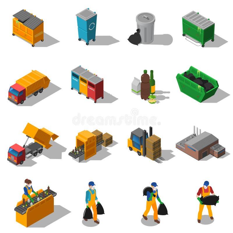 Déchets réutilisant la collection isométrique d'icônes illustration stock